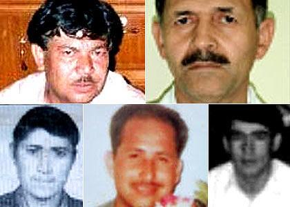 Clockwise from top:  Muzafar Ali Safarali, Mohammad Ali Ayubi, Baquer Husani, Mohammed Amini Zamen and Awaz Nader.