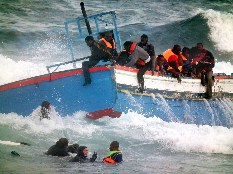Image result for migrants by sea