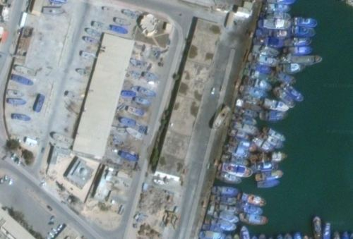 Zuwara Harbour West Side Warehouses via Google Earth